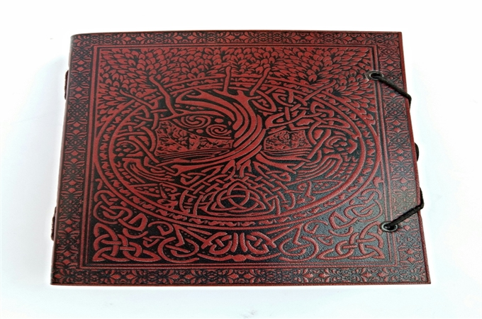 Art Leather Journal : Celtic tree embossed leather journal